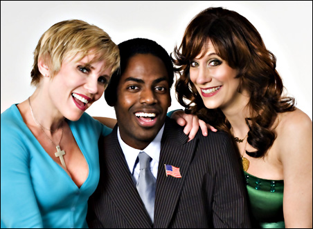 """Lizz Winstead, right, with actor and Minnesota native Darbi Worley, left, and actor/comic Baron Vaughn of """"Shoot the Messenger."""""""
