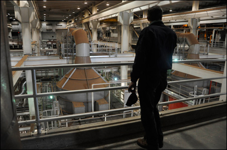 Research scientist Brad Gehring scrutinizes the incinerator complex.