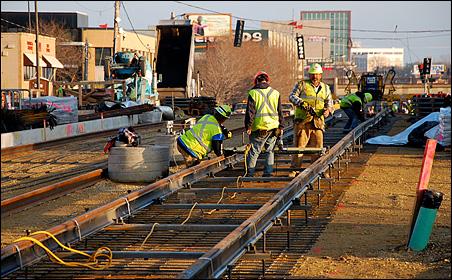 Light rail construction on University Avenue in St. Paul.