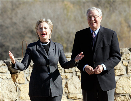 Sen. Clinton and Walter Mondale