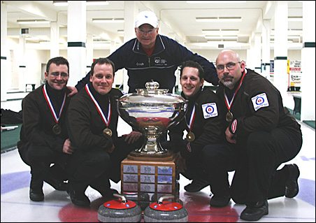 Winners of the National Men's Curling Championship are, left to right,  Craig Brown, Rich Ruohonen, coach Steve Brown, John Dunlop and Pete Annis.