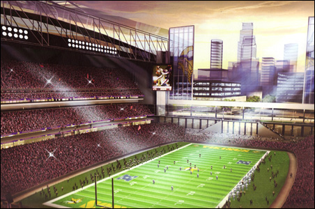 This sketch shows the proposed stadium with the roof open.