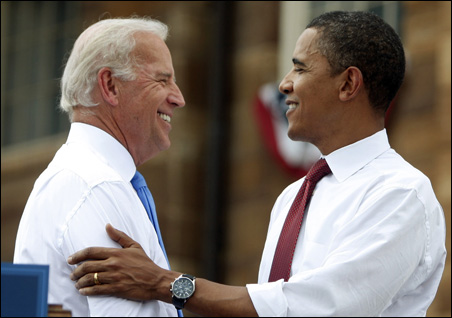 Sen. Barack Obama, right, and running mate, Sen. Joe Biden, at a campaign event at the Old State Capitol in Springfield, Ill. on Saturday.
