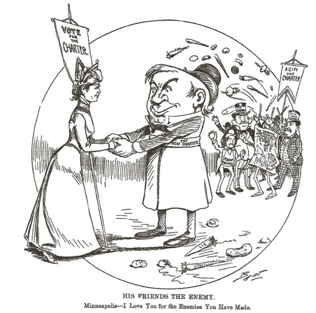 This Minneapolis Journal political cartoon from 1900 shows charter reform opponents tossing rotten vegtables at the proposed new charter which would have vastly increased the powers of the city's mayor.