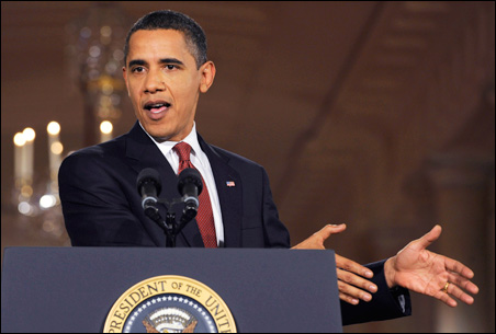 President Obama urging quick action on his stimulus package during last night's news conference.