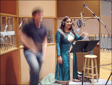Harding dances in a recording session with Siddique.