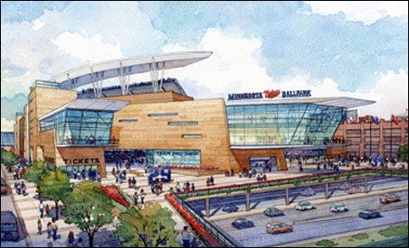 Architectural rendering of finished Twins stadium due to open in 2010.