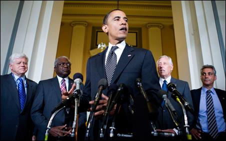 Sen. Barack Obama speaks to the media at the Capitol on July 29.