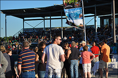 Fans mingle at Bill Taunton Stadium, home of the Willmar Stingers, during the Stingers' 12-7 win over the Thunder Bay Border Cats on June 19.