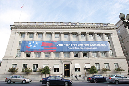 The U.S. Chamber of Commerce launched the Campaign for Free Enterprise: Dream Big campaign on Wednesday with a banner facing the White House.