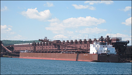 The James R. Barker in Two Harbors loading taconite pellets.