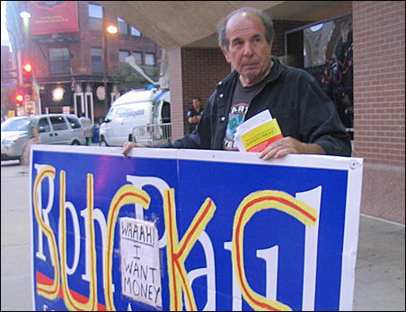 """""""I came here to irritate Ron Paul,"""" former supporter Leslie Davis says Tuesday outside the Target Center."""