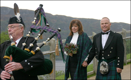 An American wedding party at Urguhart Castle, overlooking Loch Ness.