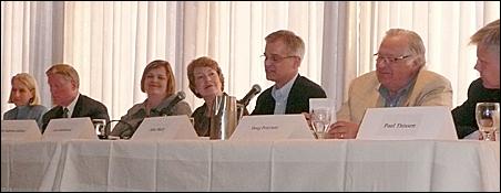 Susan Gaertner, Steve Kelley, Margaret Anderson Kelliher, moderator Lori Sturdivant, John Marty, Doug Peterson, Paul Thissen.