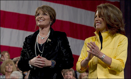 Sarah Palin and Rep. Michele Bachmann shared the spotlight at Wednesday's rally.