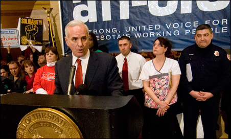 Gov. Dayton speaking to attendees of Tuesday's union rally at the Capitol.