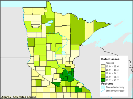 Percent of people 25 years and older in Minnesota who have completed a bachelor's degree.