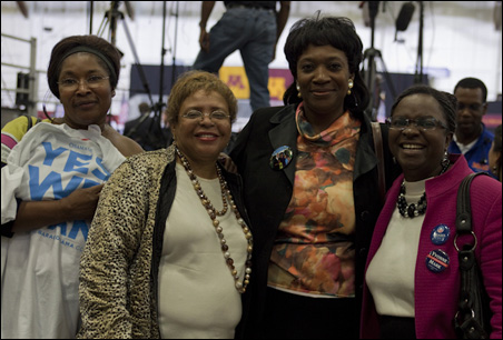 Left to right, Leah Slyvie, Charise Council, Florence Nabeta, Foulata Ocama: Obama  can still send shivers up and down the spines of his believers.
