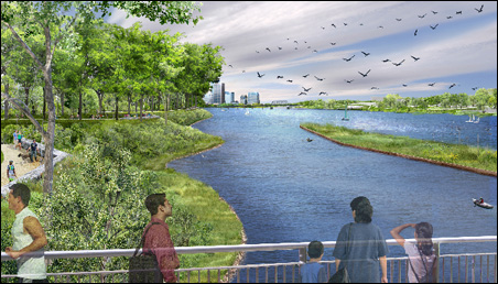 Concept drawing of view looking south from the Lowry Bridge.