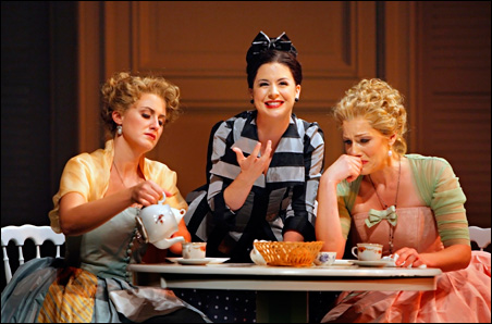 Jacquelyn Wagner as Fiordiligi, Angela Mortellaro as the sisters' maid and Jennifer Holloway as Dorabella, in The Minnesota Opera's Così fan tutte.