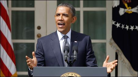 President Obama speaking from the Rose Garden on Monday.