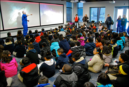 """Students are welcomed to the redesigned Starbase facility by instructor Scott """"Viper"""" Halupczok."""