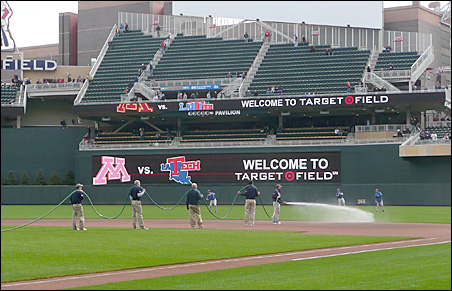 Watering the field on the first weekend