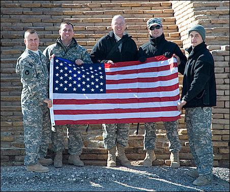 """From left to right: Capt. Philip """"Buddy"""" Winn, Osseo, Minn.; Sgt. Robert Bennett, Tacoma, Wash.; Sgt. Richard Crear, Cottage Grove, Minn.; Spc. Peter Mogck, Shoreview, Minn.; Sgt. Ryan Rohling, St. Cloud, Minn."""