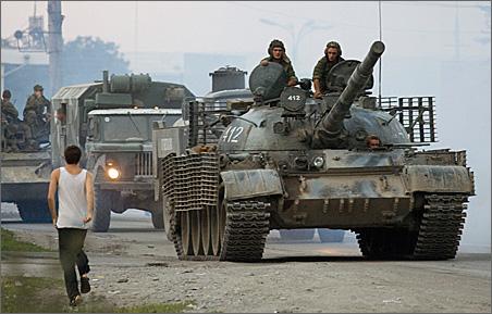A Russian military column drives toward the Georgian province of South Ossetia.