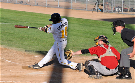 Willmar Stingers catcher/outfielder Anthony Bemboom, who graduated from Sauk Rapids High School and now plays for Creighton University, takes a swing during the Stingers' 12-7 win over the Thunder Bay Border Cats on June 19.