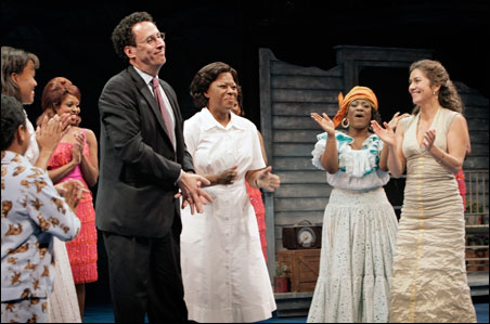 "Tony Kushner and director Marcela Lorca, far right, with the cast of ""Caroline, or Change."" The show is the first of three productions in the Guthrie's Kushner celebration."