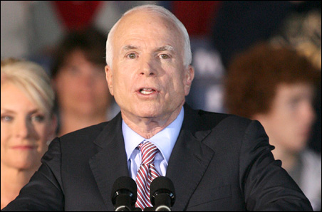 John McCain at a rally in Vienna, Ohio, this week: He blames greedy and careless captains of Wall Street for the current financial mess.