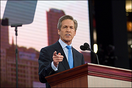 Norm Coleman speaking during last year's Republican National Convention in St. Paul.