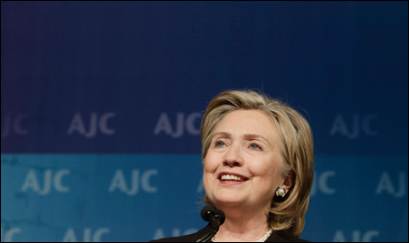Secretary of State Hillary Clinton shown delivering remarks to the American Jewish Committee Annual Gala dinner on Thursday.