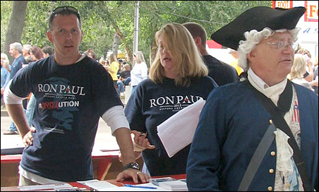 Ron Paul is the only candidate to have a free-standing booth.