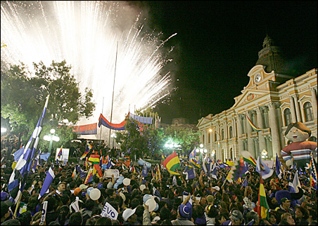 Supporters of Bolivia's President Evo Morales celebrate his re-election victory in La Paz, Dec. 6, 2009.