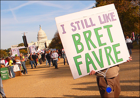 """The misspelled Brett was intentional. """"But I do like him,"""" the sign-carrier said."""