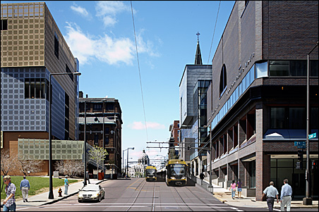 MPR's building, right, on Cedar and Seventh Streets in St. Paul.
