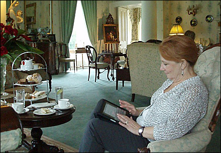 Looking at the website for Ballyseede Castle while sitting in Ballyseede Castle's drawing room for high tea.