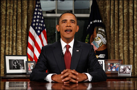 President Barack Obama addressed the nation about the end of the U.S. combat mission in Iraq from the Oval Office of the White House on Tuesday.