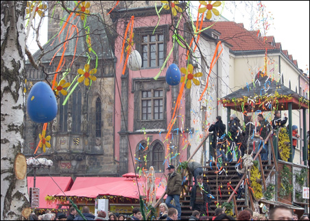 The churches may be empty in Europe, but the colors of the Easter Festival fill the Old Town Square in Prague for several days leading up to Easter.
