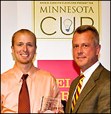 Jon Pearce with John Stavig, professional director of the Gary S. Holmes Center for Entrepreneurship at the Carlson School of Management.