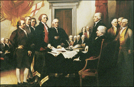 A detail from John Trumbull's painting of the Founding Fathers signing the Declaration of Independence.