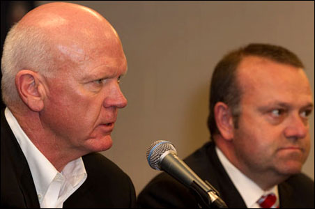 Returning Twins GM Terry Ryan and team President Dave St. Peter meet with the media Monday.