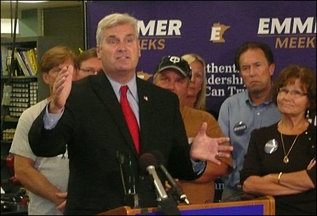 Tom Emmer takes questions during his press conference at Permac Industries.