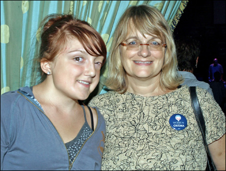 Obama supporters Katia Rush, left, and her mother, Kayci Rush.