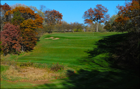 The 13th hole (old No. 4) is a short, but tricky par-3 over a deep valley.