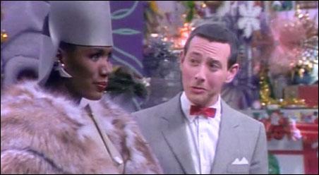 "Grace Jones and Paul Reubens in ""Pee-wee's Christmas Special"""