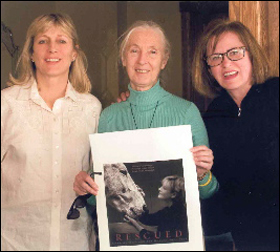 """Karin Winegar and Judy Olausen meet with Jane Goodall, who wrote a foreword to """"Saved."""""""