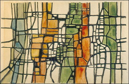 """George Morrison, """"Untitled,"""" 1955. Watercolor on paper."""